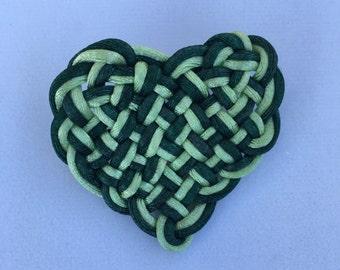 Green Celtic Heart Pin