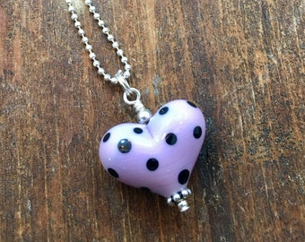 Polka Dot Necklace. Sterling Silver Necklace. Glass Heart Pendant. Lampwork Necklace. Valentine's Day Gift. Polka Dot Jewelry. Glass Bead.