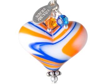 Oilers Heart Pendant. Lampwork Heart. Glass Heart Pendant. Oilers Heart Charm. Heart Jewelry. Edmonton Oilers Necklace. Oilers Jewelry.