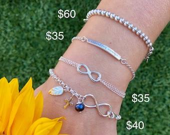 Sterling Silver Engraved Bracelets. Choose Happiness Bracelet. Infinity Bracelet. Silver Quote Bracelet. Heart Bracelet. Charm Bracelet.