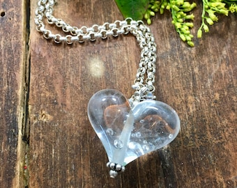 Clear Glass Heart Pendant. Heart Necklace. Women's Heart Pendant. Lampwork Heart Charm. Glass Heart. Valentine's Day Gift. Heart Jewelry.
