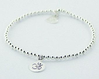 OM Symbol Sterling Silver Bracelet. OM Bracelet. Yoga Bracelet. Zen Bracelet. Beaded Bracelet. Studio BB Designs.