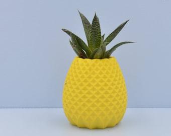 Succulent planter / 3D printed planter /pineapple air plant holder/ Yellow plant pot / flower vase / girlfriend gift/cactus planter