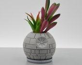 Star wars death star, star wars cactus pot, star wars decor,3d printed planter, succulent plant pot,small indoor planter