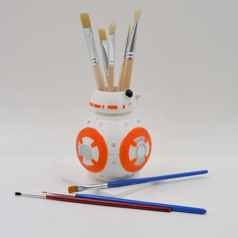 White and Orange BB2 planter desk decor Star Wars hand-painted organizer,star wars cactus pot,star wars decor,3d printed planter