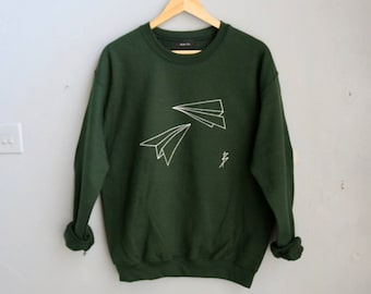 Sale! Origami Creative Gift- Paper Plane Sweatshirt - Forest Bottle Green IFjoZ7hOY