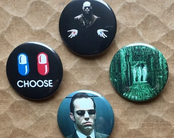 The Matrix Agent Smith Morpheus Red Blue Pill Pinback Buttons