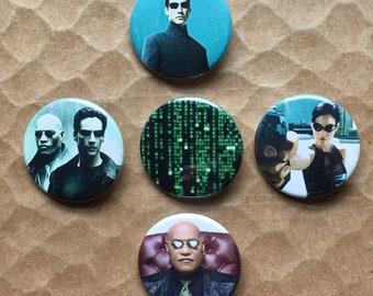 The Matrix Neo Morpheus Trinity Red Blue Pill Pinback Buttons