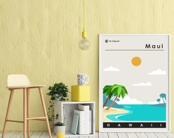 Maui Travel Print -- Minimal Hawaii Travel Poster -- Mid-Century Modern -- Hawaiian Beach