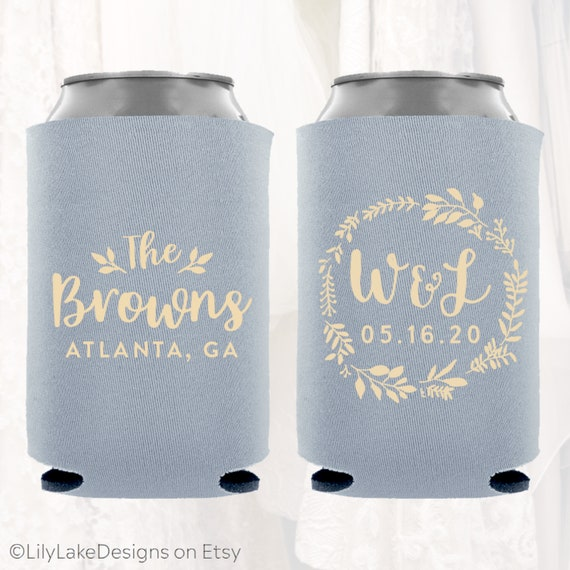 Personalized Wedding Can Cooler Customized Wedding Favors Etsy