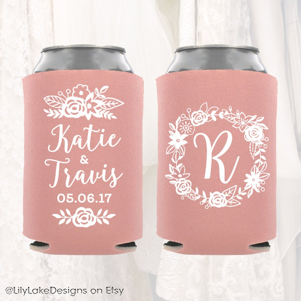 Personalized Wedding Can Cooler Floral Wedding Can Cooler | Etsy