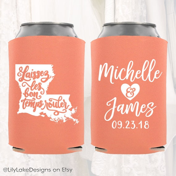 Personalized Wedding Favors Ideas Custom Wedding Coolers Wedding Party Gifts Bottle Sleeves Laissez Les Bon Temps Rouler 1A