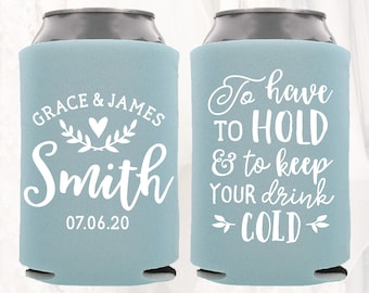 Personalized Wedding Favors, To Have To Hold To Keep Your Drink Cold, Customized Wedding Can Coolers, Monogram Insulators Beer Hugger, TH101