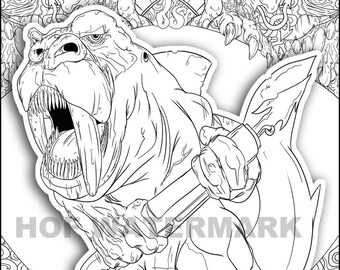 Creepy Coloring Funny Coloring Page Monster Coloring | Etsy