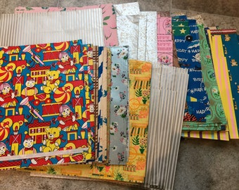 Mixed Lot of Retro Paper 70s Fancy Paper. Authentic Retro Journaling Paper Vintage Wrapping Paper