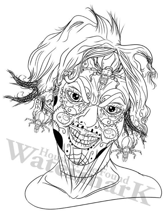 Pin Up Coloring Creepy Coloring Relax Color Page Sugar Skulls Page Sugar Skulls Color Coloring Poster Coloring Meditation Digital
