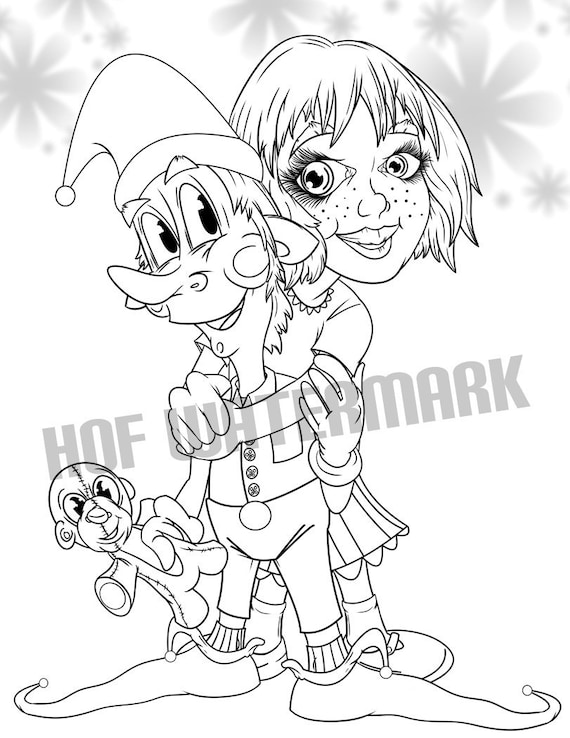 Elf Coloring Page Big Eyed Coloring Friend Coloring Page Coloring Meditation Cute Coloring Pages Holiday Coloring Digital Color Page