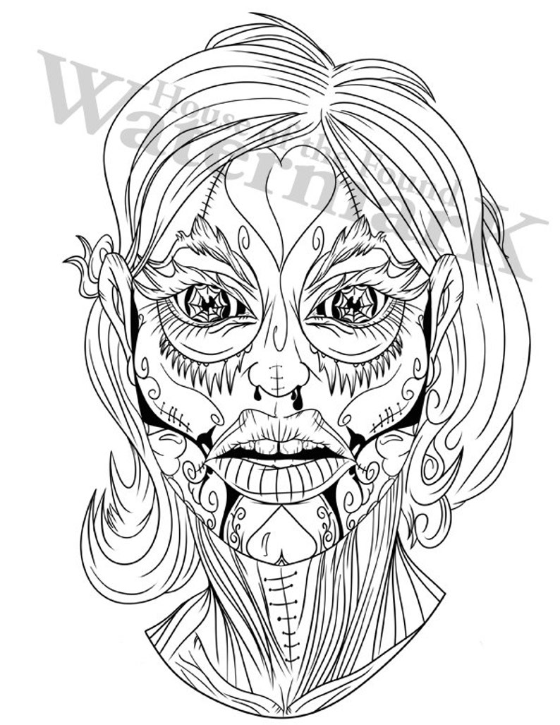 Sugar Skull Coloring Page Candy Pages Free For Adults Color ... | 1027x794
