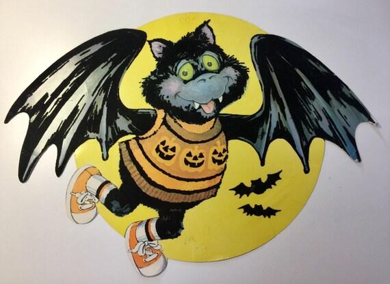Vampire Die Cut Bat Die Cut Vtg Halloween Old Halloween Etsy