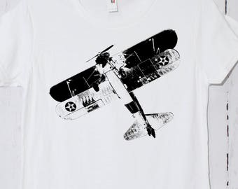 Airplane, war plane, aviation t-shirt, biplane, vintage, tee, screen printed