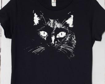 Women's t-shirt, graphic tee, fashion t-shirt, cat shirt, cat face shirt, cat lover gift, screen printed