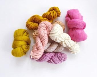 YARN PACK fibre pack, weaving pack, wool roving, wool yarn