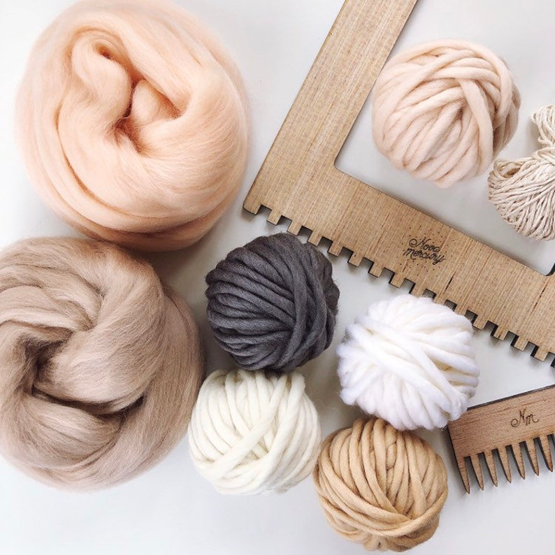 PEACHES & CREAM yarn pack, weaving pack, wool roving, wool yarn