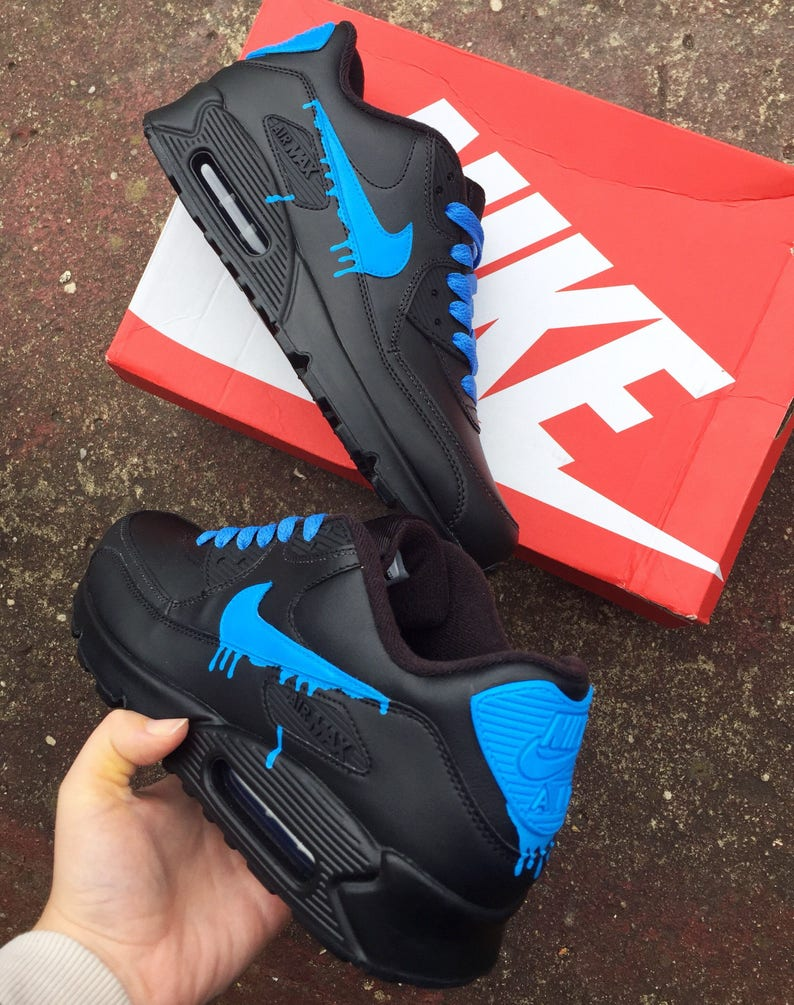 official photos d9b03 12fe9 Fluorescent blue drippy nike air max 90  Etsy