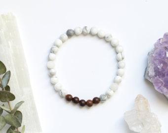 Rosewood and White Howlite Spiritual Healing Bracelet