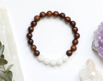 Moonstone and Rosewood Bracelet for Calming Energy - Healing Crystals for ADHD and Anxiety