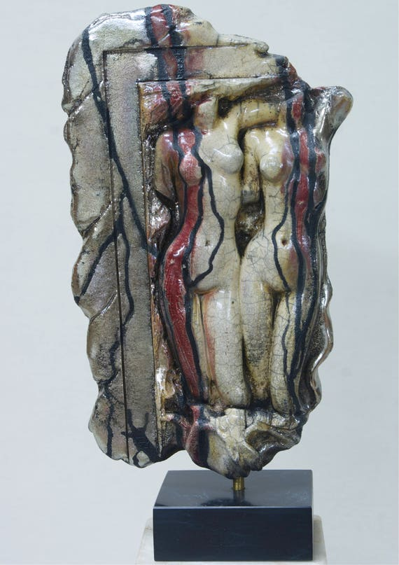 NUDE MALE /& FEMALE Raku Ceramic Figurine Sculpture Stoneware Statue Greek Art Modern Erotic