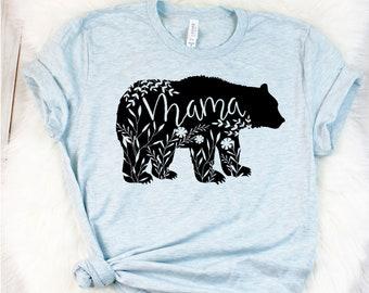 Mama Bear Shirt - Mama Bear T Shirt - Pregnancy Reveal Shirt - Floral Mama Bear Shirt - Floral Bear Shirt - Baby Shower Gifts