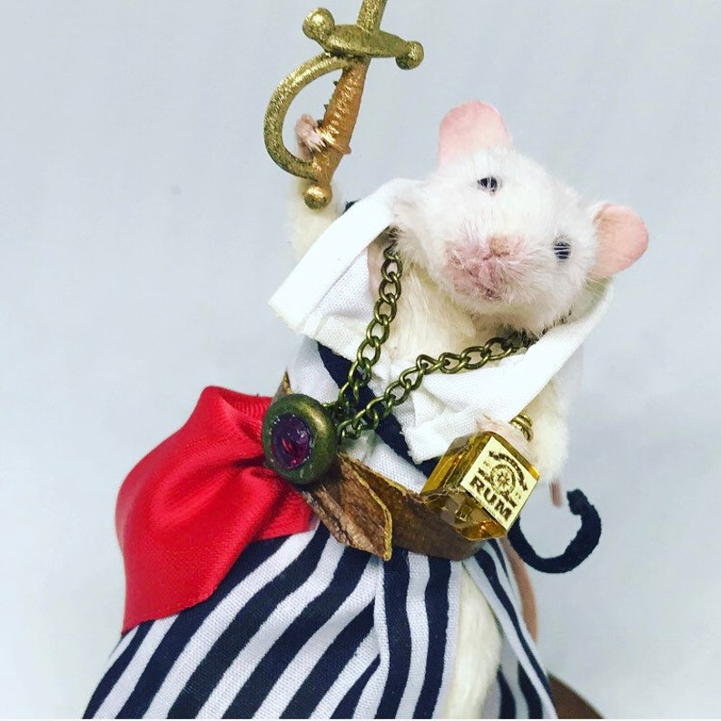 Taxidermy mouse pirate with sword and rum  oddities curio image 0