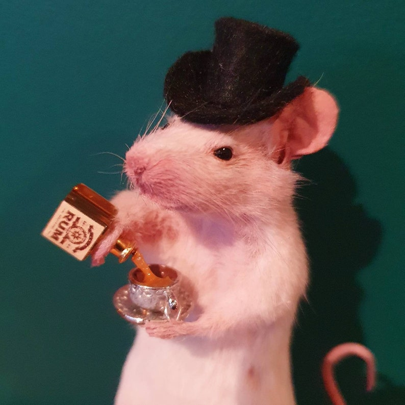Taxidermy Mouse with RUM and teacup  oddities curio With Top Hat