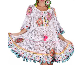 15fd815839eff6 ANTICA SARTORIa COKLICO borduurwerk Lace Dress Boho chic Bohochic 42 44 46