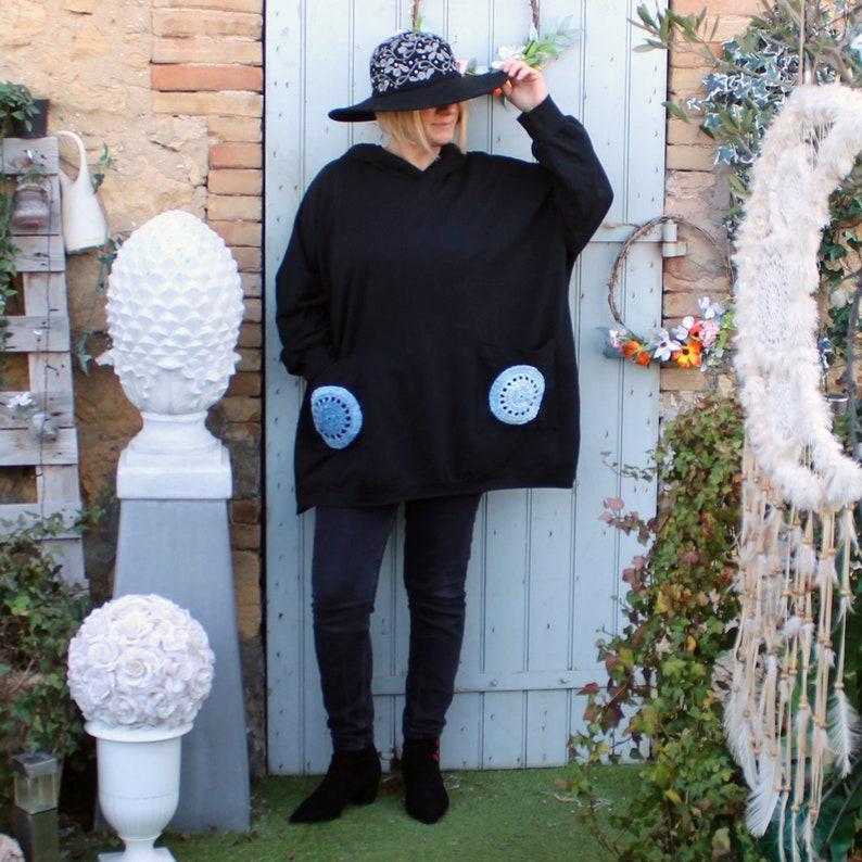 TUNIC GRANDE SIZE coklico cotton boho boho oversize round hood crochet