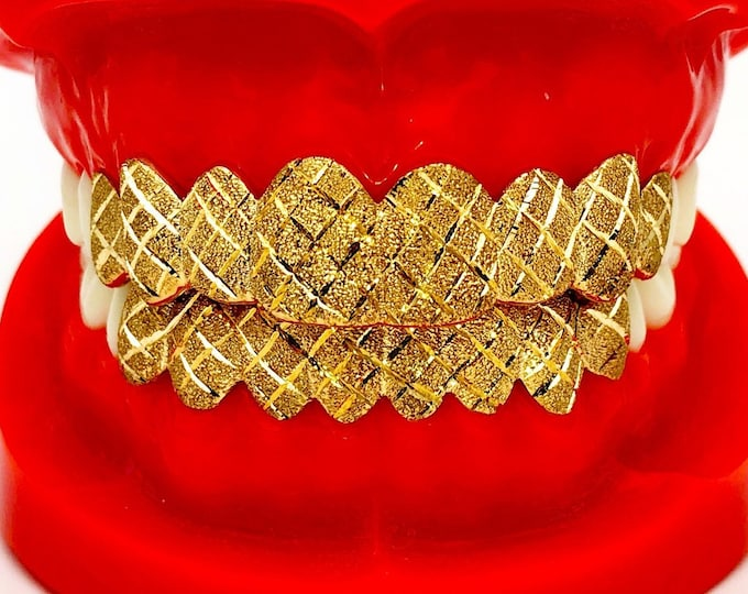 925 Solid Sterling Silver w/18K Yellow Gold Plated Dust+Diamond Cut Handmade Custom Fit Grill Grillz