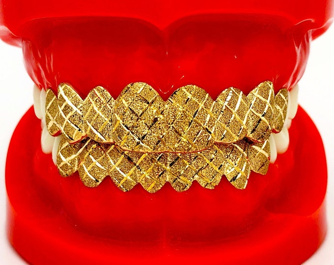 10K Solid Yellow White Rose Gold Custom fit Diamond cut+Dust Grill Gold Teeth GRILLZ.