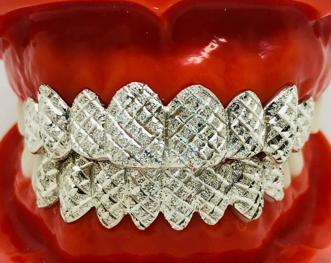 925 Solid Sterling Silver Princess+Diamond Dust Cut Handmade Custom Fit Grill Grillz
