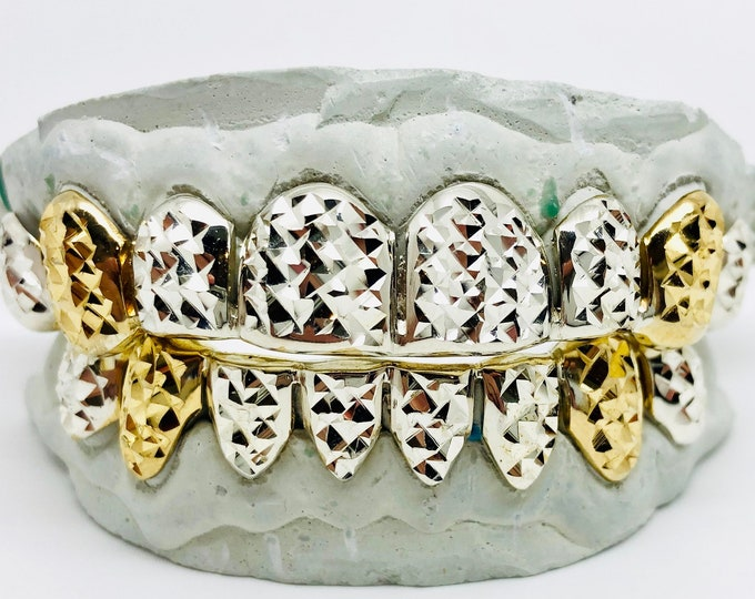 925 Sterling Silver w/18k Gold Plated Two Tone Princess Diamond Cut Custom Fit Handmade Real Grill Grillz
