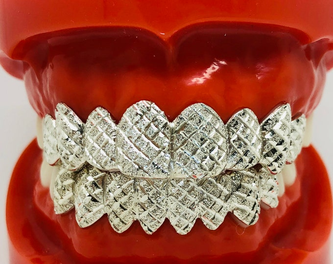 10K Solid White Gold Custom fit Diamond cut+Dust Grill Gold Teeth GRILLZ.