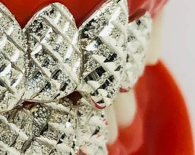 10K Solid White Gold Custom fit Diamond cut+Dust Grill Gold Teeth GRILLZ.