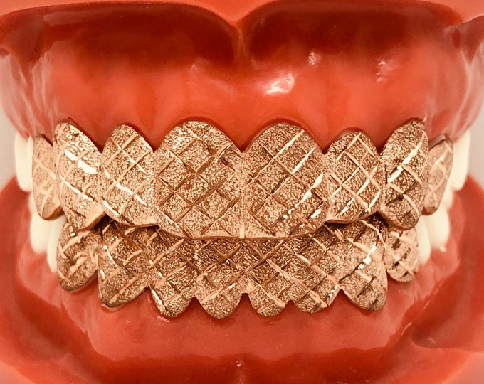 925 Solid Sterling Silver w/18K Rose  Gold Plated Dust+Diamond Cut Handmade Custom Fit Grill Grillz