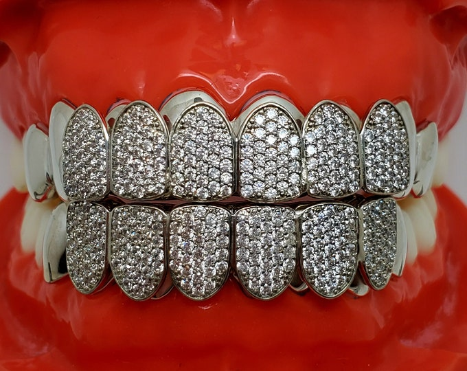 Custom fit 925 Sterling Silver Iced out Cubic Zirconia CZ Honey Comb Setting Blocks Grillz Grill Yellow, Rose, Silver.