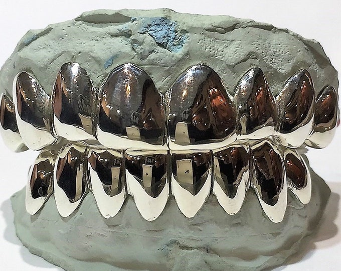10K Solid White Gold Custom fit REAL Perm Cut Grill Gold Teeth GRILLZ.