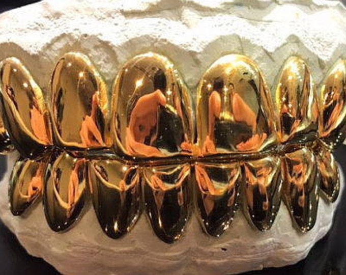 14K Solid Yellow Gold Custom fit REAL Perm Cut Grill Gold Teeth GRILLZ.