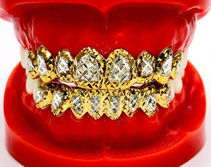 925 Solid Sterling Silver w/18K Yellow Gold Plated Dust+Diamond+Princess Cut Handmade Custom Fit Grill Grillz
