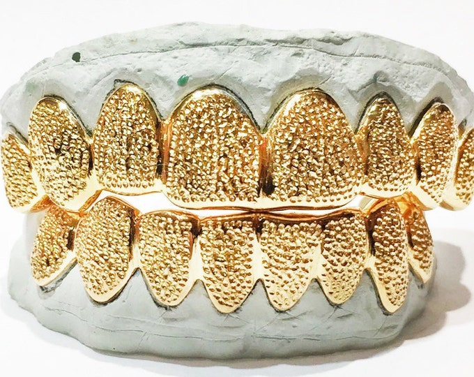 10K Solid Yellow Gold Diamond Dust Cut Custom Fit Grill Grillz