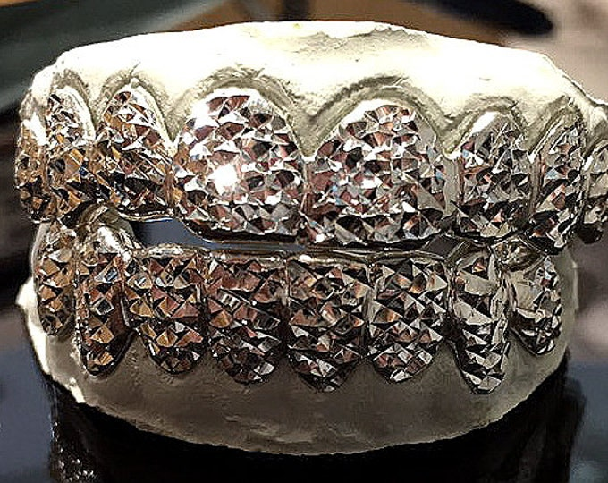 10K Solid White Gold Custom fit Princess Diamond Cut Grill Gold Teeth GRILLZ.