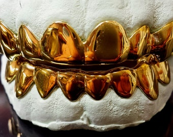 925 Sterling Silver w/ 18K Yellow Gold Plated Custom Real Handmade Grillz
